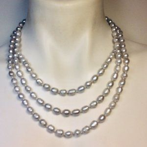 Gray Cultured Pearl Genuine Sautoir Necklace